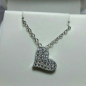 Jewelry - Sterling Silver simulated diamond heart Necklace